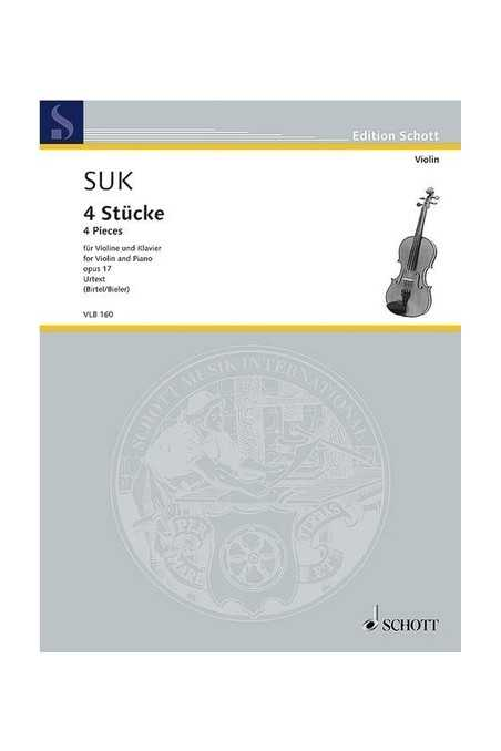 Suk, 4 Pieces For Violin And Piano Op17 (Schott)