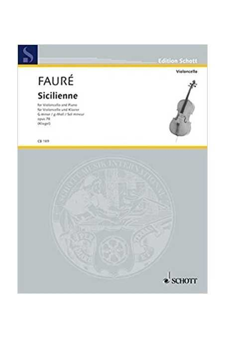 Sicilienne For Violin And Piano Op 78 By Faure (Schott)