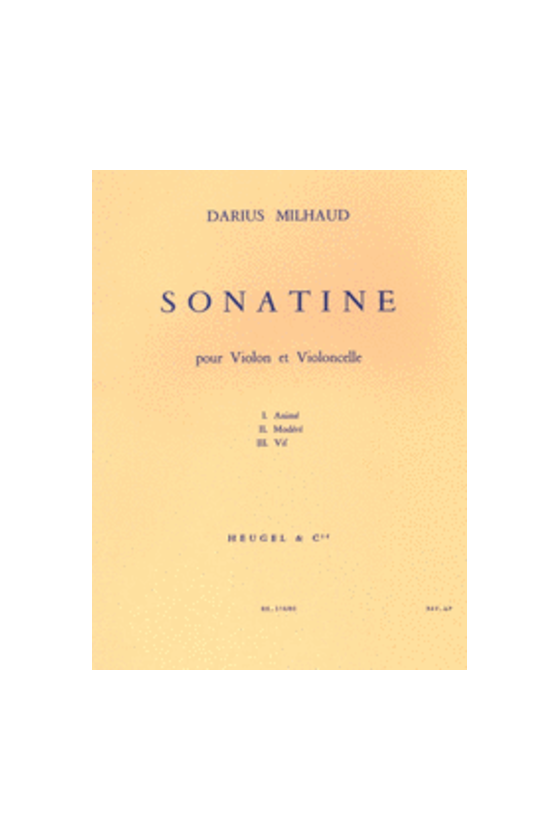 Milhaud, Sonatine For...