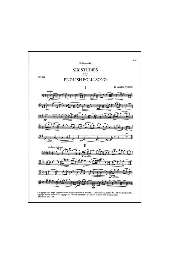 Vaughan Williams, 6 English Folksongs For Cello (Stainer And Bell)