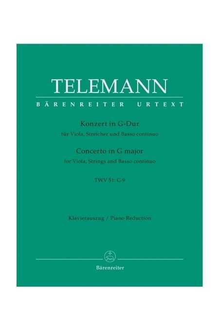 Telemann Concerto In G Major For Viola, String And Bass (Barenreiter)