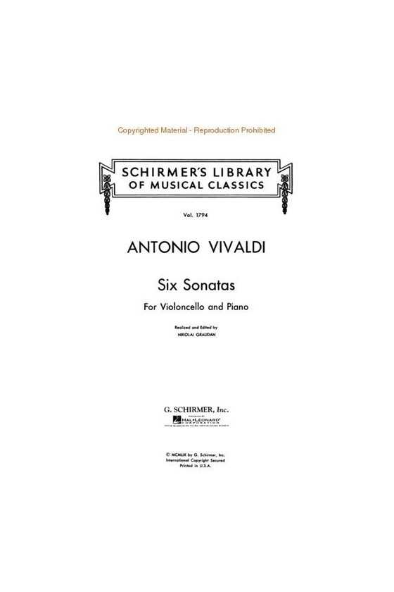 Vivaldi, 6 Sonatas For Cello (Schirmer)