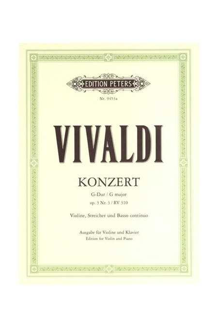 Vivaldi Concerto Op. 3 No. 6 In A Minor For Violin (Peters)