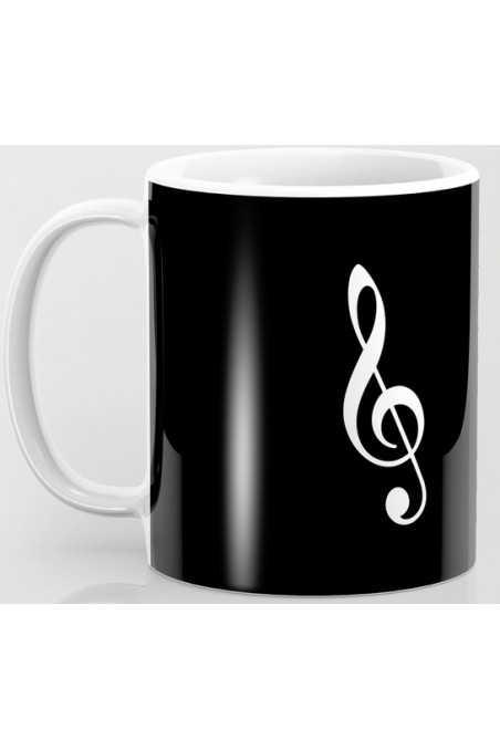 Black Mug With White Treble Clef