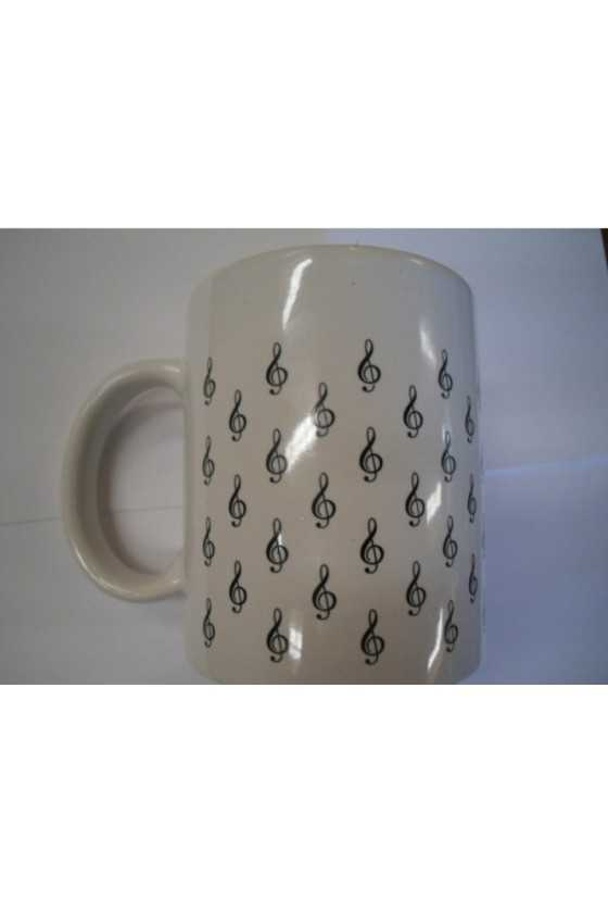 White Mug with little G Clefs