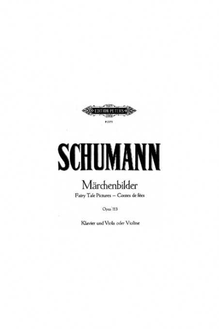 Schumann, Marchenbilder Op.113 For Viola And Piano (Peters)