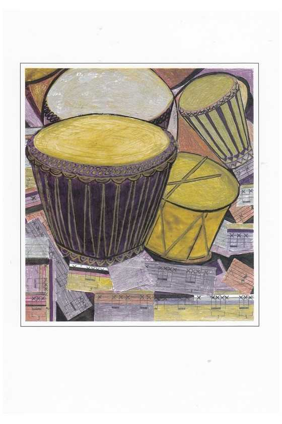Music Theme Greeting Card 'Drums'