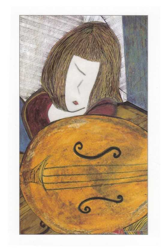 Music Theme Greeting Card 'Girl and String Instrument'