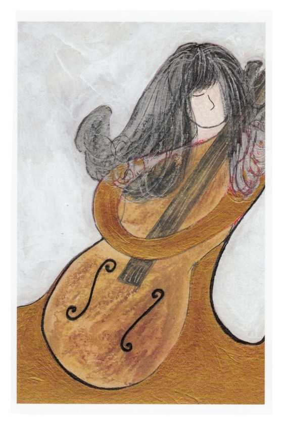 Music Theme Greeting Card 'Cello and Girl'