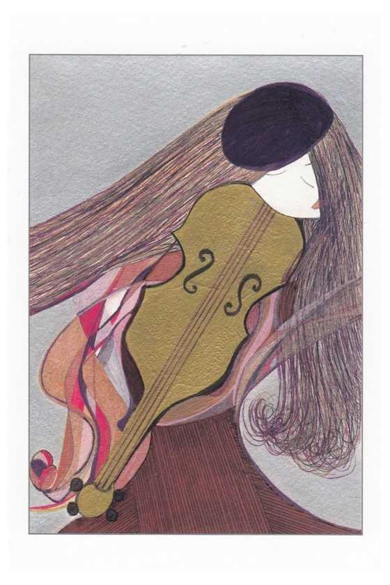 Music Theme Greeting Card 'Girl and Violin (grey and purple)
