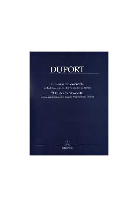 Duport, 21 etudes for cello (with optional 2nd cello accompaniment)
