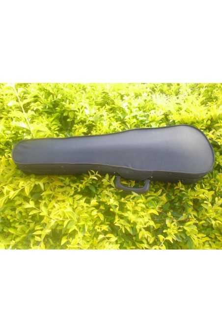 3/4 Size Black Plywood Violin Case With Brown Interior