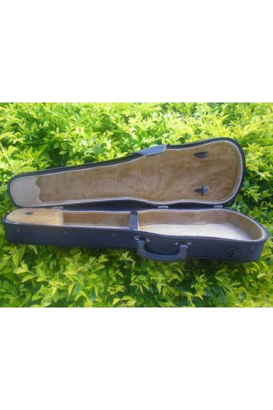 3/4 Size Black Plywood Violin Case With Brown Interior