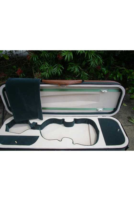 Oblong Light Weight Violin Case With Olive Exterior